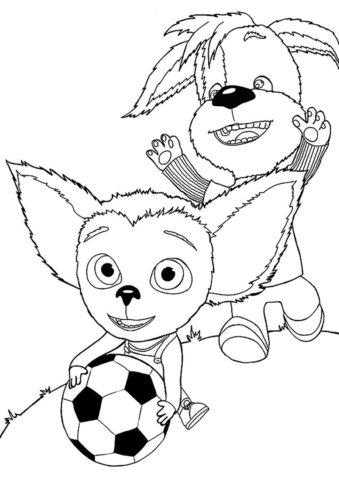 Раскраска Малыш учится играть в футбол распечатать и скачать - Барбоскины