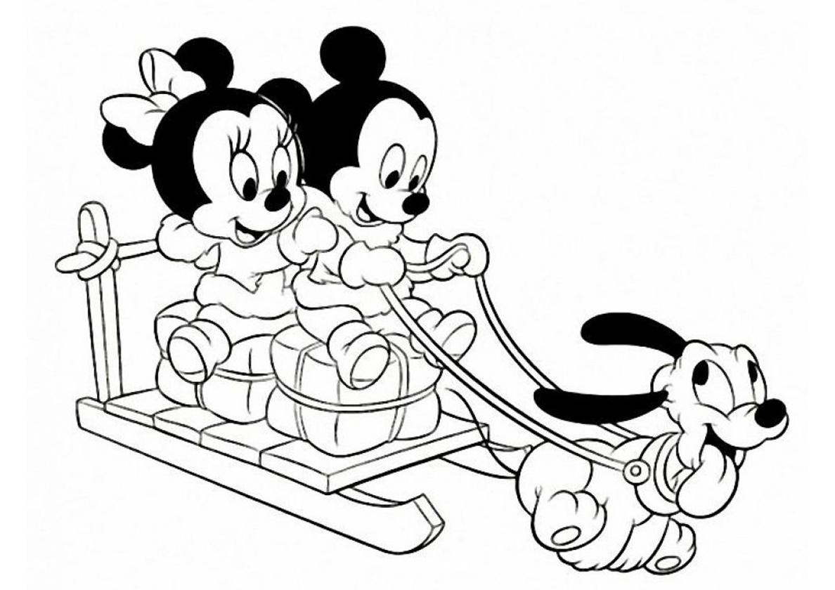 Раскраска Малыши с подарками распечатать | Микки Маус