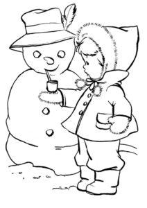 Бесплатная раскраска Малышка и снеговик распечатать на А4 - Зима