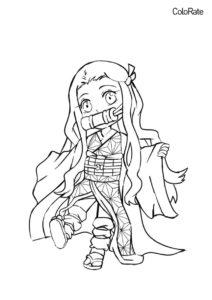 Малышка Незуко распечатать и скачать раскраску - Раскраски из аниме «Клинок, рассекающий демонов»