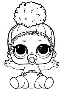 L.O.L Маленькие сестренки распечатать раскраску на А4 - Малышка Тачдаун