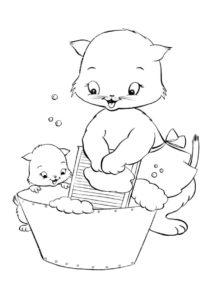 Раскраска Мама кошка стирает распечатать на А4 и скачать - Коты, кошки, котята