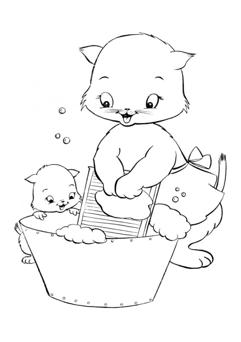 Раскраска Мама кошка стирает распечатать | Коты, кошки, котята