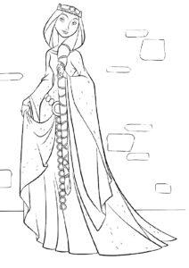 Мама принцессы (Мерида) бесплатная раскраска