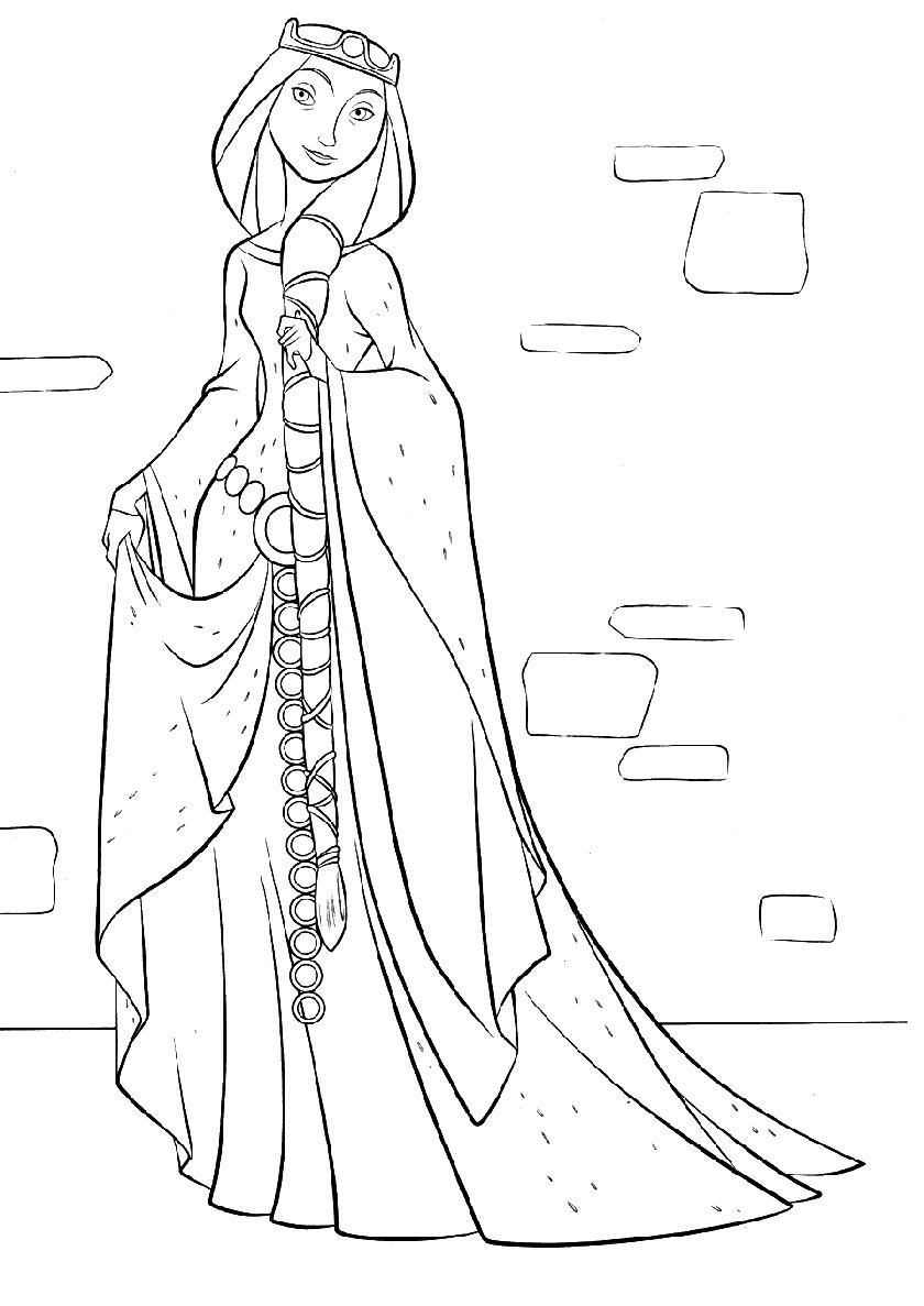 Раскраска Мама принцессы распечатать | Мерида