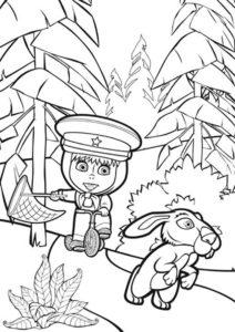 Маша догоняет зайчика раскраска распечатать на А4 - Маша и Медведь
