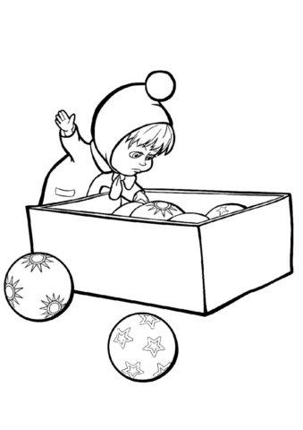 Маша и Медведь распечатать раскраску - Маша и елочные игрушки
