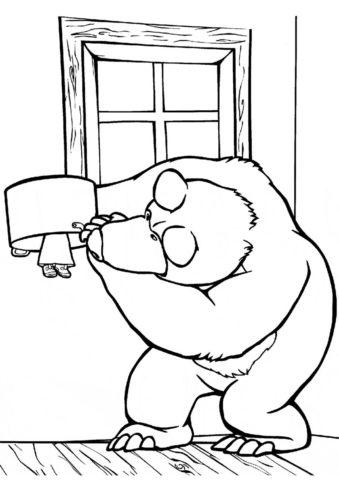 Маша и Медведь готовят разукрашка скачать и распечатать - Маша и Медведь