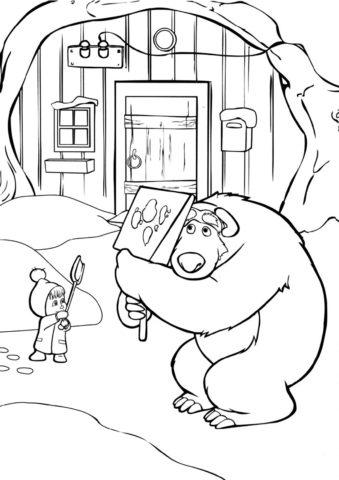 Бесплатная разукрашка для печати и скачивания Маша и Медведь играют в снежки - Маша и Медведь