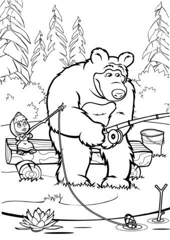 Маша и Медведь на рыбалке распечатать раскраску - Маша и Медведь