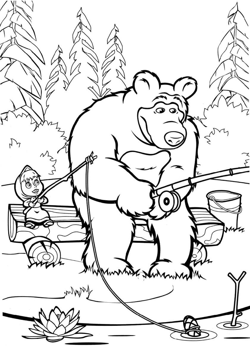 Раскраска Маша и Медведь на рыбалке распечатать | Маша и ...
