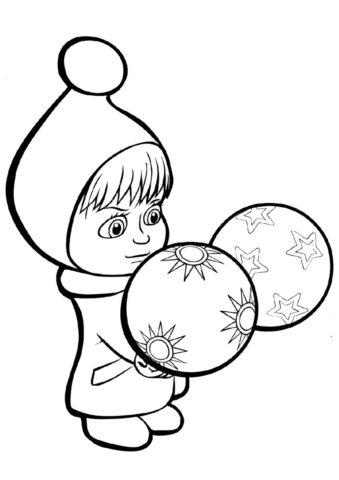 Маша разглядывает шарики (Маша и Медведь) раскраска для печати и загрузки