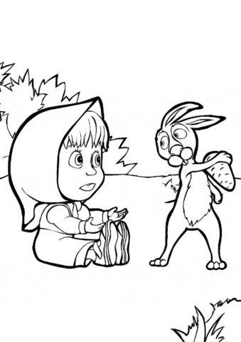 Маше хочется морковку (Маша и Медведь) раскраска для печати и загрузки