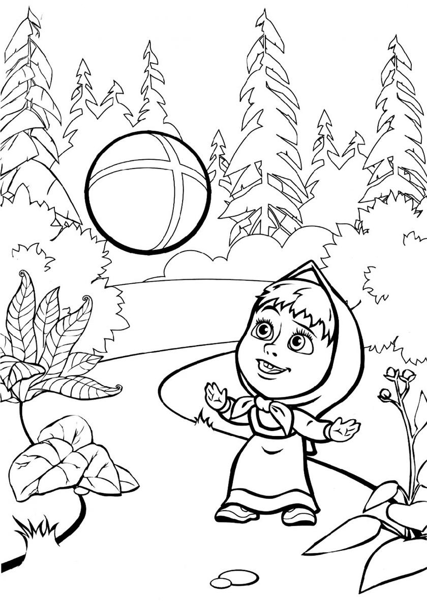 Раскраска Машенька с мячом распечатать | Маша и Медведь