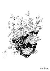 Маска Канеки раскраска распечатать бесплатно на А4 - Токийский гуль