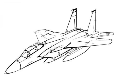 Бесплатная раскраска McDonnell Douglas F-15 Eagle распечатать на А4 - Самолеты