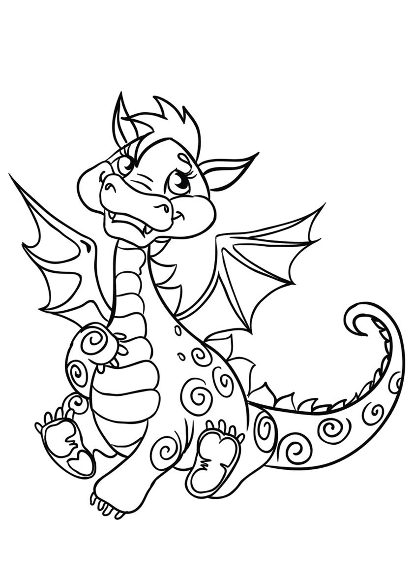 Раскраска Мечтательный дракон распечатать | Драконы