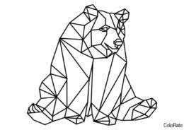 Геометрические фигуры бесплатная раскраска - Медведь