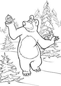 Раскраска Медведь держит Машу на руке - Маша и Медведь