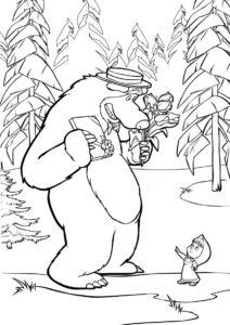 Раскраска Медведь идет на свидание распечатать на А4 и скачать - Маша и Медведь