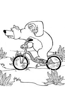 Медведь повез Машу в лес распечатать раскраску - Маша и Медведь