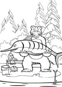 Бесплатная раскраска Медведь поймал рыбу-меч распечатать на А4 - Маша и Медведь