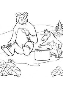 Медведь ужинает с волком (Маша и Медведь) распечатать бесплатную раскраску