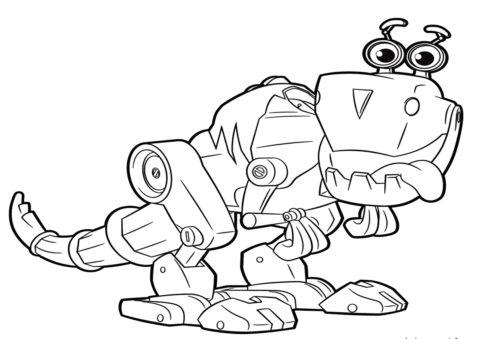 Роботы бесплатная разукрашка - Механический динозаврик