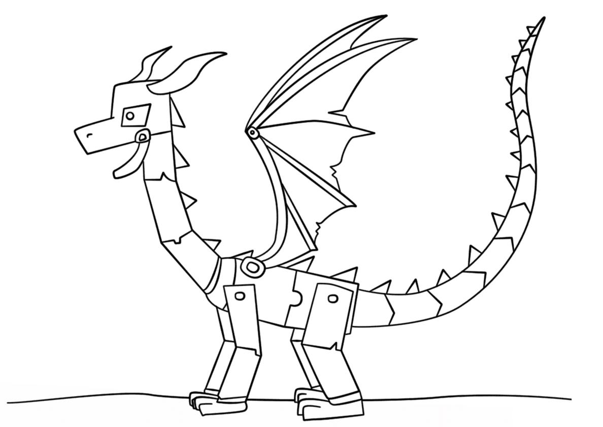 Раскраска Механический дракон распечатать | Драконы