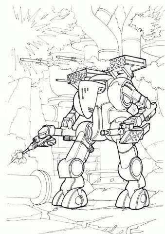 Роботы бесплатная разукрашка - Механический разрушитель