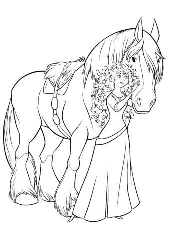 Мерида и лошадь (Мерида) распечатать разукрашку