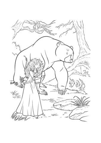 Раскраска Мерида и медведь распечатать и скачать - Мерида