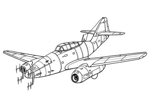 Мессершмитт Me.262 Ласточка - Самолеты раскраска распечатать на А4