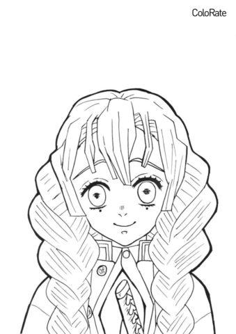 Мицури Конроджи (Раскраски из аниме «Клинок, рассекающий демонов») распечатать бесплатную раскраску