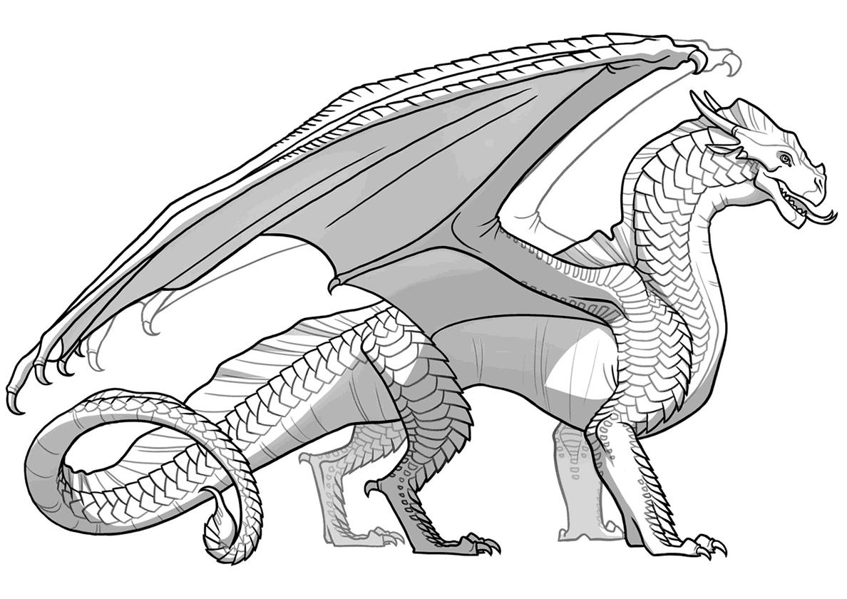 Раскраска Мифический дракон распечатать   Драконы
