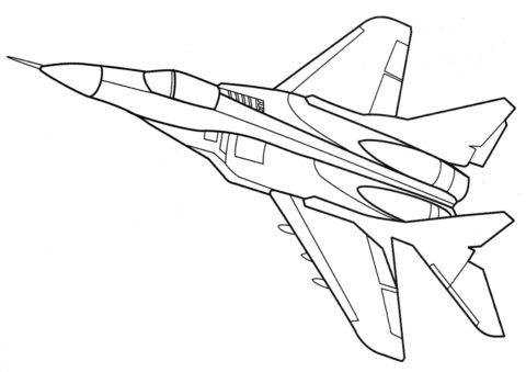 Самолеты распечатать раскраску - МиГ-29 советский истребитель