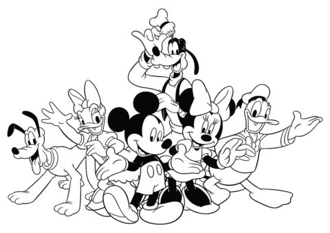 Микки Маус и его друзья бесплатная раскраска - Микки Маус