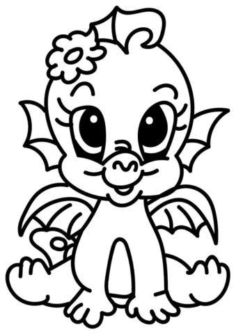 Раскраска Милый дракончик распечатать | Драконы