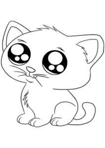 Коты, кошки, котята распечатать раскраску - Милый котик