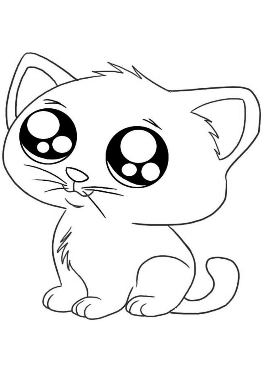 Раскраска Милый котик распечатать | Коты, кошки, котята