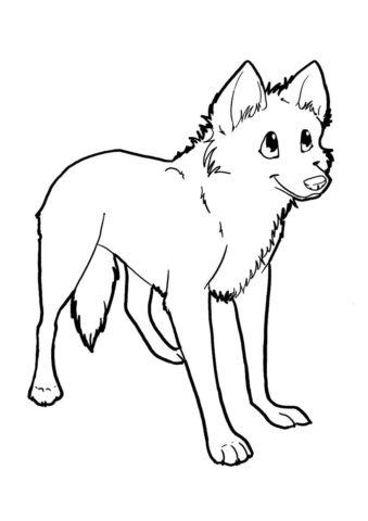 Милый волчонок раскраска распечатать и скачать - Волки