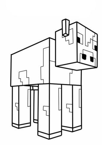 Бесплатная раскраска Minecraft Корова распечатать на А4 - Майнкрафт