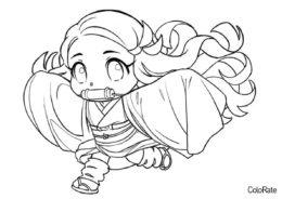 Разукрашка Мини Незу распечатать на А4 - Раскраски из аниме «Клинок, рассекающий демонов»
