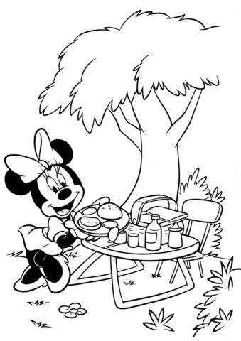 Минни накрывает на стол (Микки Маус) распечатать раскраску