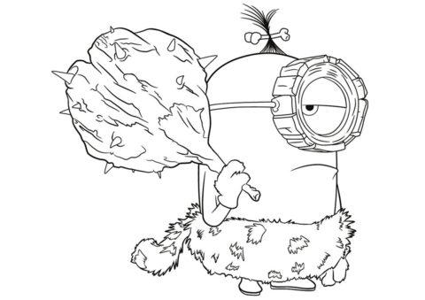 Миньоны распечатать раскраску - Миньон-неандерталец