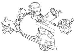 Миньоны на скутере раскраска распечатать на А4 - Миньоны