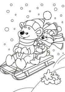 Раскраска Мишка и лисичка на санях распечатать на А4 и скачать - Зима