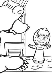 Разукрашка Мишка и Маша на кухне распечатать на А4 - Маша и Медведь