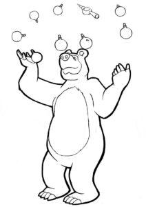 Мишка жонглирует елочными игрушками (Маша и Медведь) распечатать бесплатную раскраску