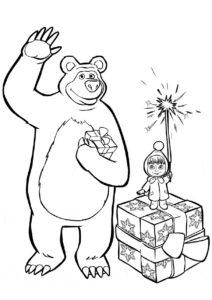 Бесплатная раскраска Мишка машет Деду Морозу распечатать и скачать - Маша и Медведь